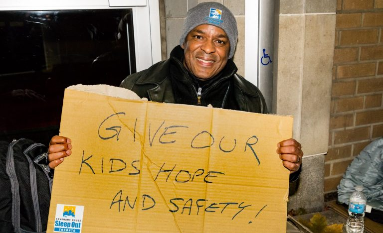 Participant in Covenant House's Sleep Out: Executive Edition