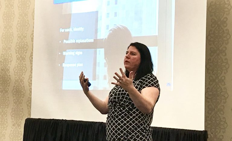 Woman delivering a presentation