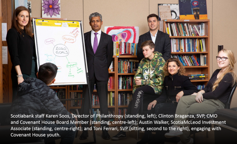 Scotiabank staff Karen Soos, Director of Philanthropy, Clinton Braganza, SVP, CMO and Covenant House Board Member, Austin Walker, ScotiaMcLeod Investment Associate, and Toni Ferrari, SVP, engaging with Covenant House youth.