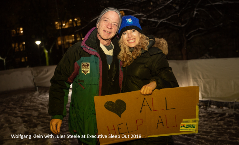 Wolfgang Klein with Jules Steele at Executive Sleep Out 2018.
